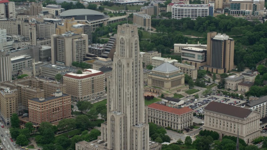 5K stock footage aerial video orbiting the Cathedral of Learning, University of Pittsburgh, Pennsylvania Aerial Stock Footage | AX105_106