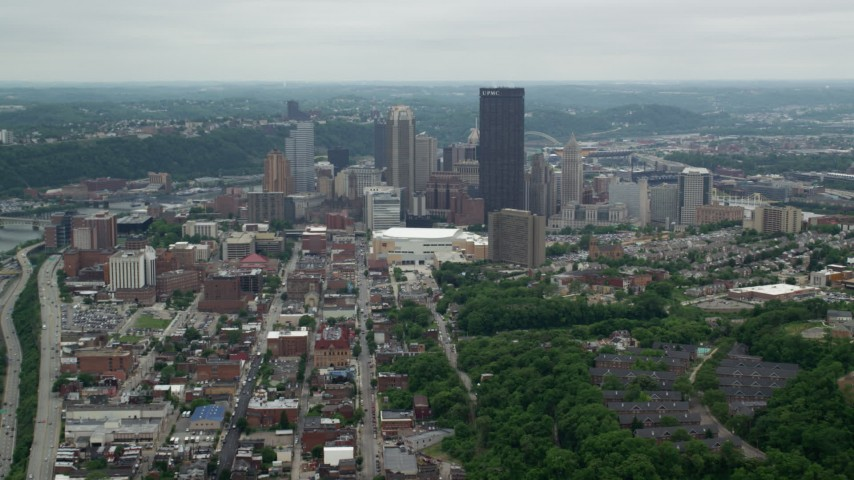 5K stock footage aerial video of Downtown Skyscrapers, Downtown Pittsburgh, Pennsylvania Aerial Stock Footage | AX105_108