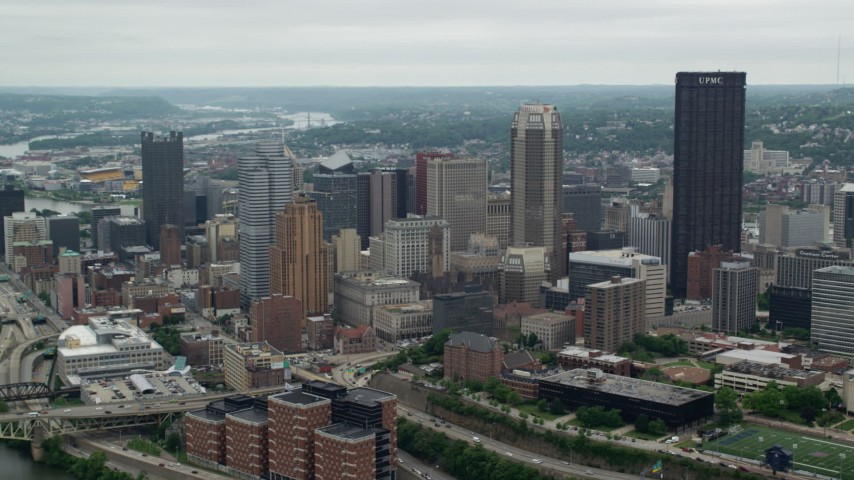 5K stock footage aerial video orbiting skyscrapers and high-rises, Downtown Pittsburgh, Pennsylvania Aerial Stock Footage | AX105_111