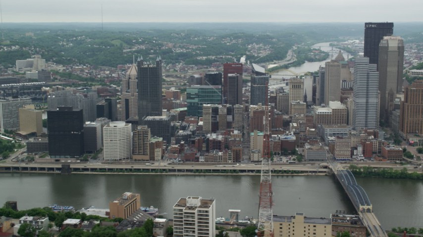 5K stock footage aerial video of riverfront skyscrapers, Downtown Pittsburgh, Pennsylvania Aerial Stock Footage | AX105_115