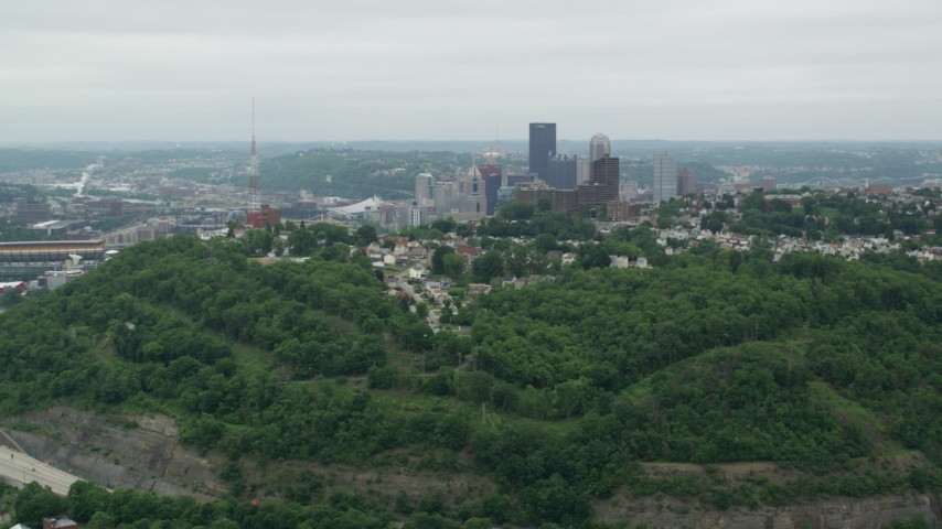 5K stock footage aerial video approaching suburban homes, Pittsburgh, Pennsylvania Aerial Stock Footage | AX105_119