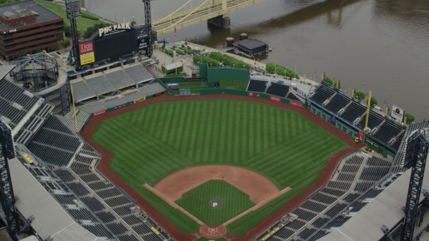 5K stock footage aerial video orbiting PNC Park Tilt Up and Reveal Downtown Pittsburgh, Pennsylvania Aerial Stock Footage | AX105_124