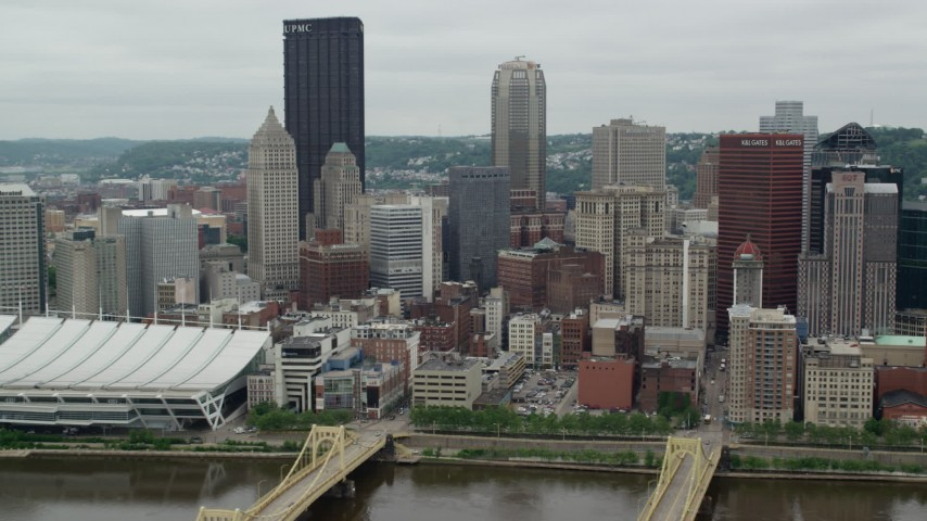 5K stock footage aerial video of skyscrapers and high-rises, Downtown Pittsburgh, Pennsylvania Aerial Stock Footage   AX105_125