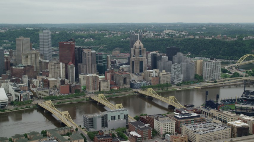5K stock footage aerial video approaching Downtown Skyscrapers, Downtown Pittsburgh, Pennsylvania Aerial Stock Footage | AX105_127