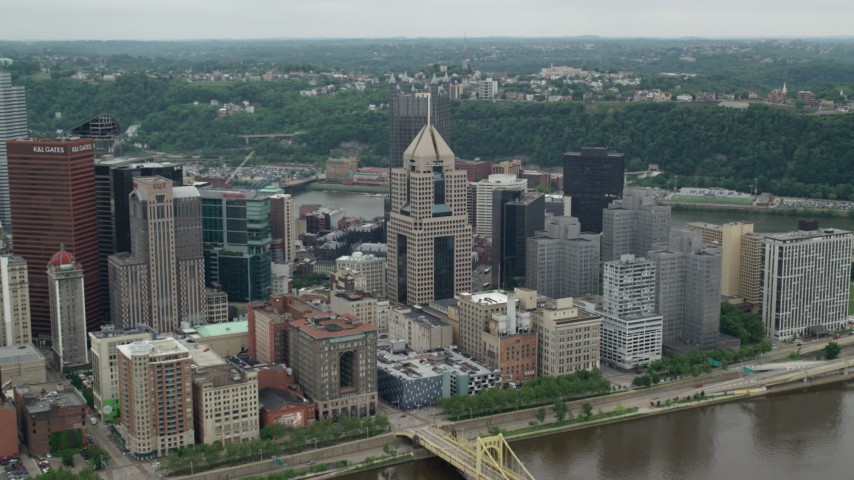 5K stock footage aerial video approaching Fifth Avenue Place, Downtown Pittsburgh, Pennsylvania Aerial Stock Footage | AX105_128