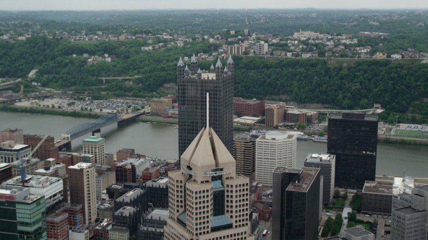 5K stock footage aerial video flying over skyscrapers, Downtown Pittsburgh, Pennsylvania Aerial Stock Footage   AX105_129