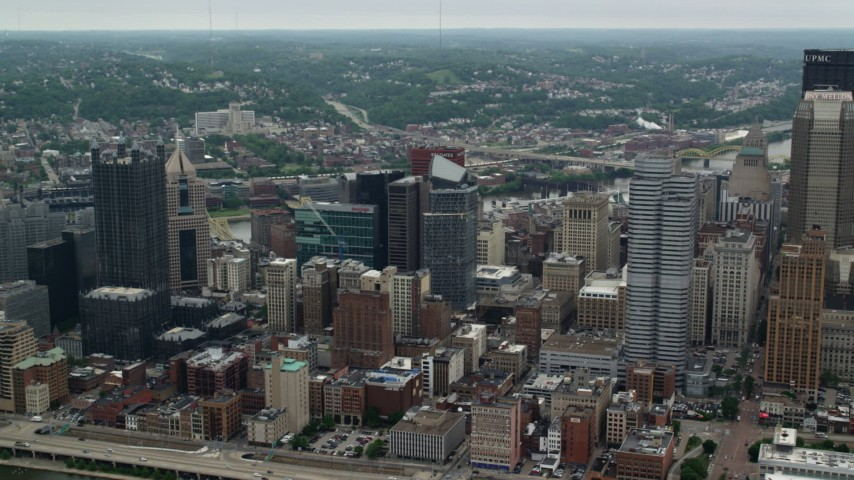 5K stock footage aerial video approaching skyscrapers, Downtown Pittsburgh, Pennsylvania Aerial Stock Footage | AX105_136
