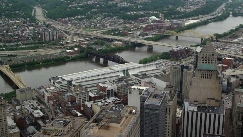 5K stock footage aerial video approaching Veterans Bridge and 16th Street Bridge, Downtown Pittsburgh, Pennsylvania Aerial Stock Footage | AX105_138