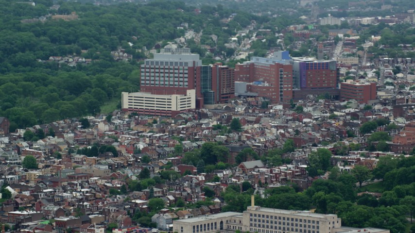 5K stock footage aerial video of Children's Hospital of Pittsburgh, Pennsylvania Aerial Stock Footage | AX105_144