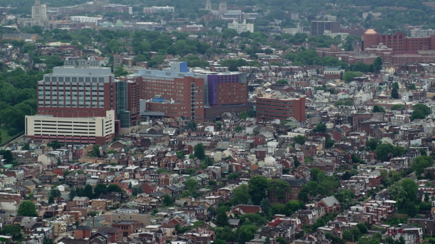 5K stock footage aerial video orbiting Children's Hospital of Pittsburgh, Pennsylvania Aerial Stock Footage | AX105_145