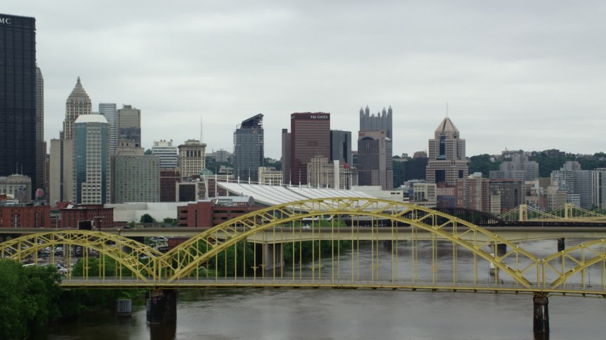 5K stock footage aerial video approaching 16th Street Bridge, Downtown Pittsburgh, Pennsylvania Aerial Stock Footage   AX105_151