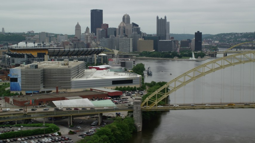 5K stock footage aerial video of the West End Bridge and downtown skyline, Downtown Pittsburgh, Pennsylvania Aerial Stock Footage | AX105_159