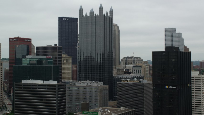5K stock footage aerial video of skyscrapers in Downtown Pittsburgh, Pennsylvania Aerial Stock Footage | AX105_164