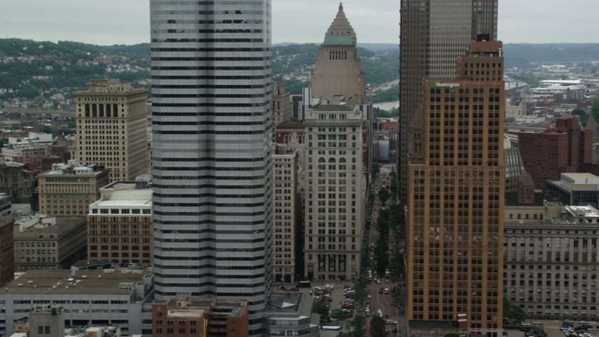 5K stock footage aerial video of skyscrapers and high-rises in Downtown Pittsburgh, Pennsylvania Aerial Stock Footage   AX105_167