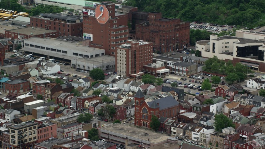 5K stock footage aerial video of an urban neighborhood, Pittsburgh, Pennsylvania Aerial Stock Footage | AX105_170