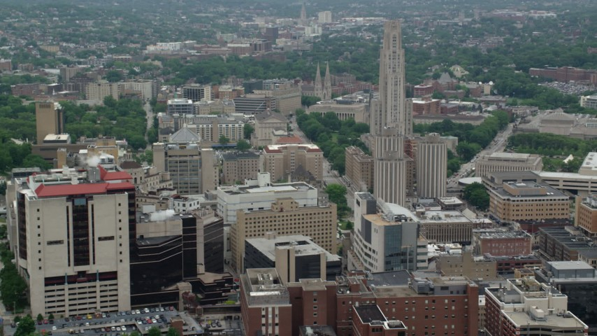 5K stock footage aerial video flying by Campus Buildings, University of Pittsburgh, Pennsylvania  Aerial Stock Footage | AX105_172