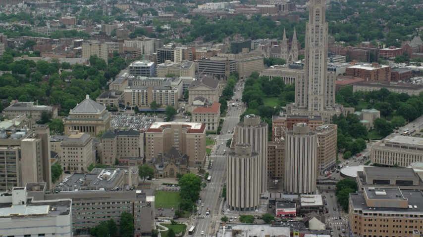 5K aerial video of Cathedral of Learning, University of Pittsburgh, Pennsylvania  Aerial Stock Footage | AX105_173