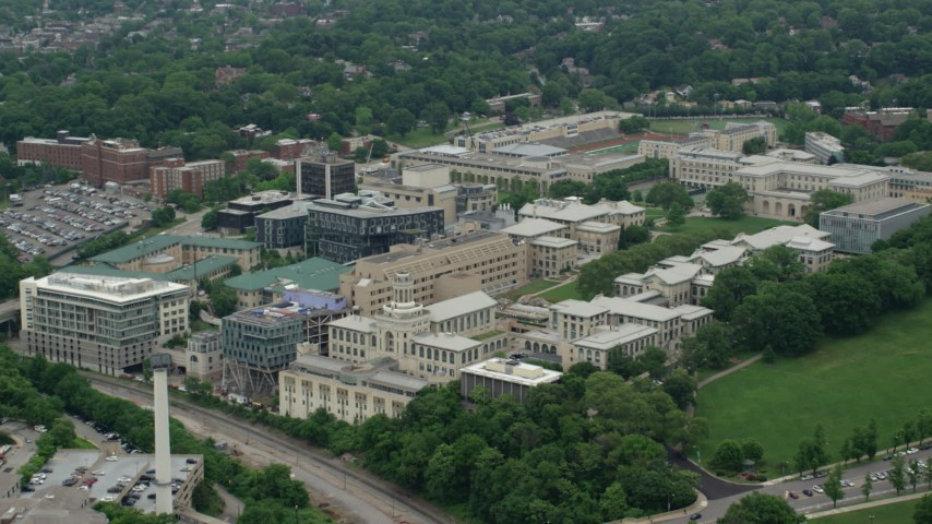 5K stock footage aerial video of Carnegie Mellon University, Pittsburgh, Pennsylvania Aerial Stock Footage | AX105_174