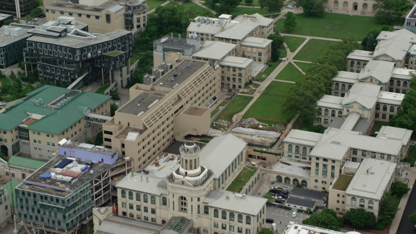 5K stock footage aerial video of Carnegie Mellon University, Pittsburgh, Pennsylvania Aerial Stock Footage | AX105_176