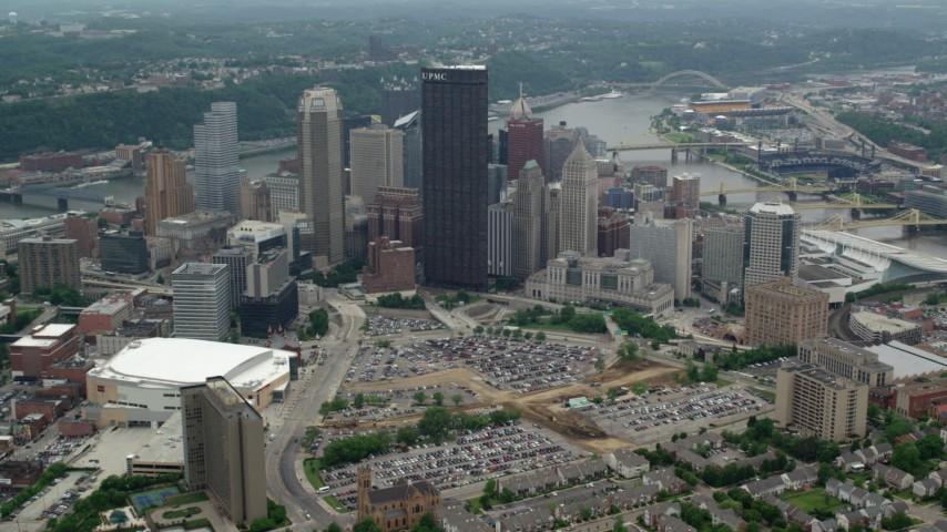 5K stock footage aerial video approaching U.S. Steel Tower skyscraper, Downtown Pittsburgh, Pennsylvania Aerial Stock Footage   AX105_181