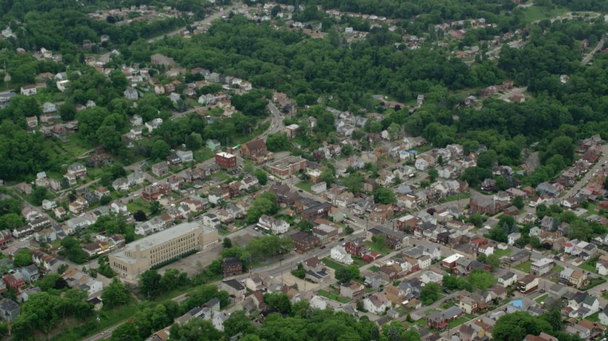 5K stock footage aerial video tilting down a residential neighborhood, Pittsburgh, Pennsylvania Aerial Stock Footage | AX105_189
