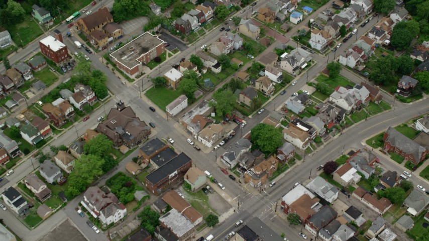 5K stock footage aerial video of a bird's eye of suburban homes, Pittsburgh, Pennsylvania Aerial Stock Footage | AX105_190