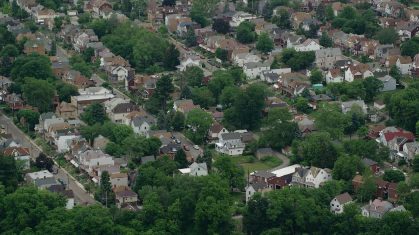 5K stock footage aerial video of suburban homes, Pittsburgh, Pennsylvania Aerial Stock Footage | AX105_191