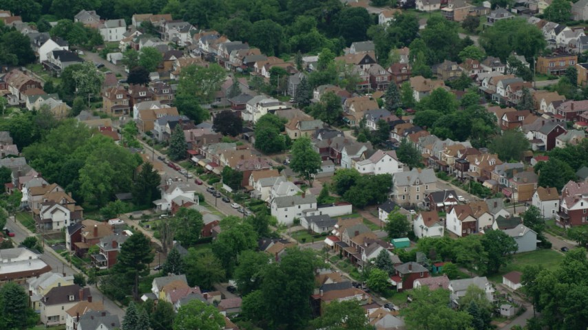 5K stock footage aerial video of suburban homes, Pittsburgh, Pennsylvania Aerial Stock Footage | AX105_192