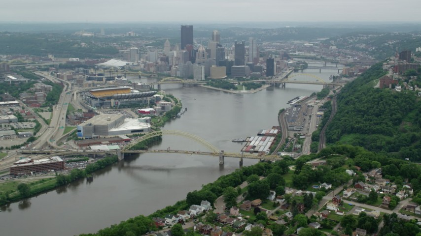 5K stock footage aerial video approaching skyscrapers and rivers, Downtown Pittsburgh, Pennsylvania Aerial Stock Footage | AX105_193