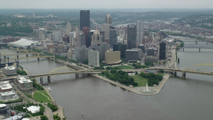 5K stock footage aerial video approaching Downtown Pittsburgh, Pennsylvania Aerial Stock Footage | AX105_196