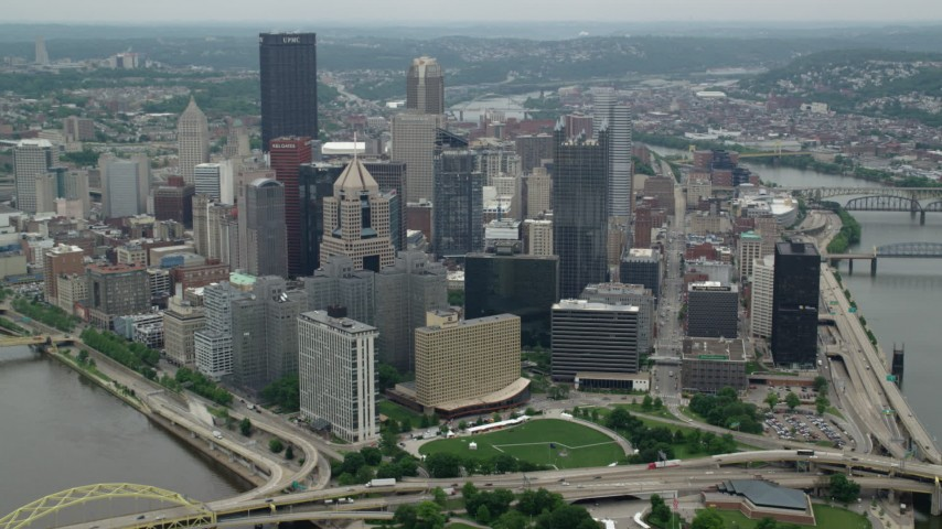 5K stock footage aerial video approaching skyscrapers in Downtown Pittsburgh, Pennsylvania Aerial Stock Footage | AX105_197