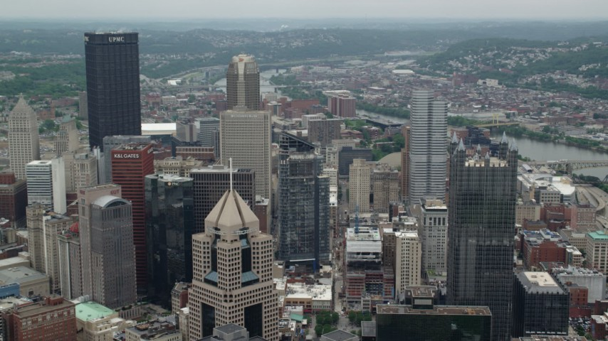 5K stock footage aerial video of skyscrapers and high-rises in Downtown Pittsburgh, Pennsylvania Aerial Stock Footage | AX105_198