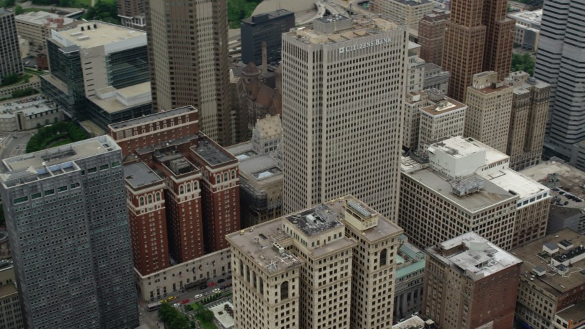 5K stock footage aerial video orbiting 525 William Penn Place, Downtown Pittsburgh, Pennsylvania Aerial Stock Footage   AX105_200