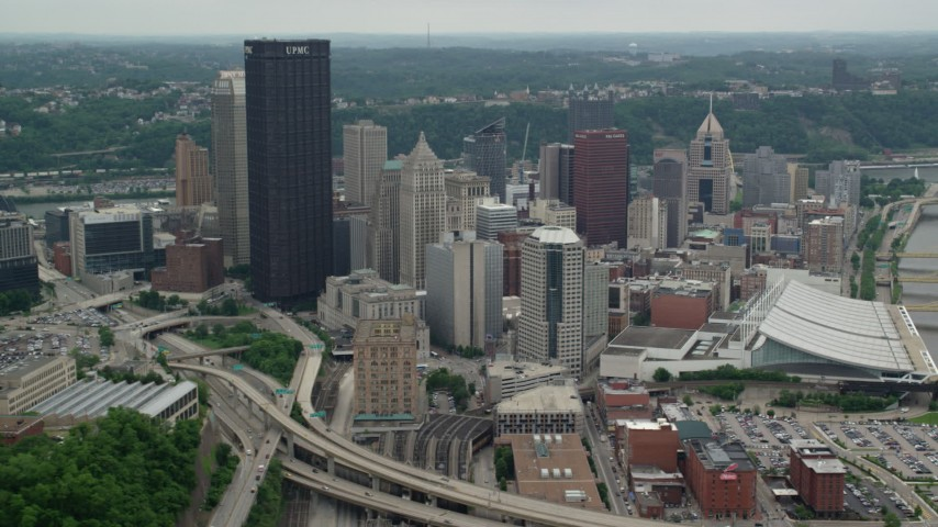 5K stock footage aerial video of skyscrapers and convention center, Downtown Pittsburgh, Pennsylvania Aerial Stock Footage | AX105_203