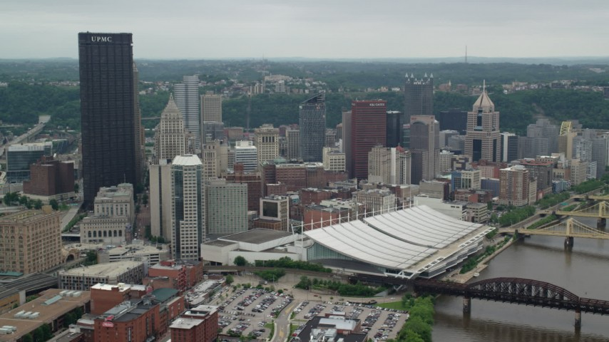 5K stock footage aerial video orbiting skyscrapers and convention centers, Downtown Pittsburgh, Pennsylvania Aerial Stock Footage | AX105_204