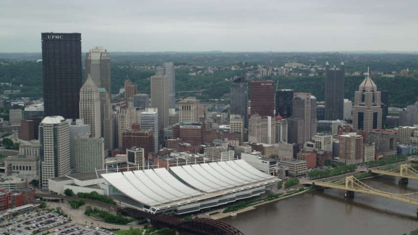 5K stock footage aerial video of skyscrapers, convention center and bridges in Downtown Pittsburgh, Pennsylvania Aerial Stock Footage | AX105_205
