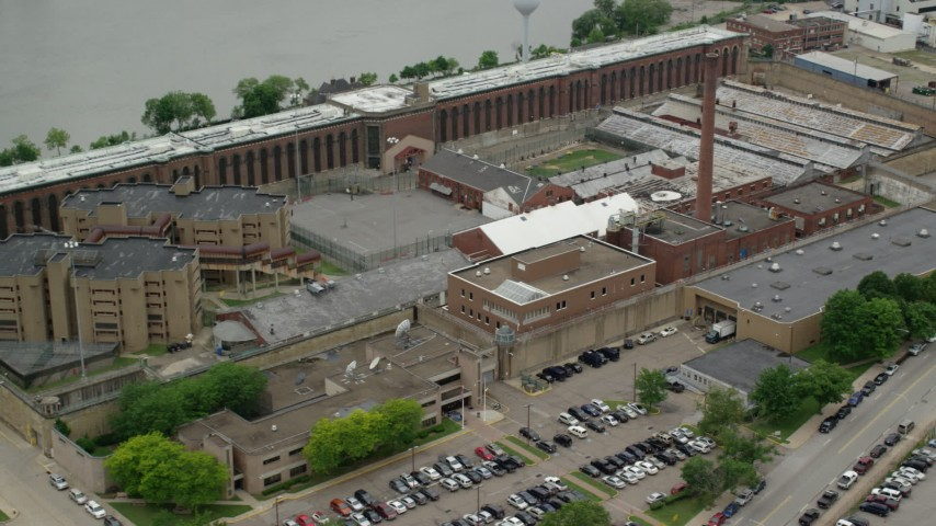 5K stock footage aerial video orbiting Western State Penitentiary, Pittsburgh, Pennsylvania Aerial Stock Footage | AX105_216