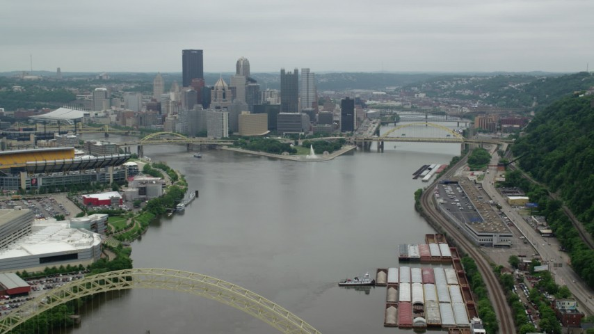 5K aerial video of skyscrapers and city rivers, Downtown Pittsburgh, Pennsylvania Aerial Stock Footage | AX105_227