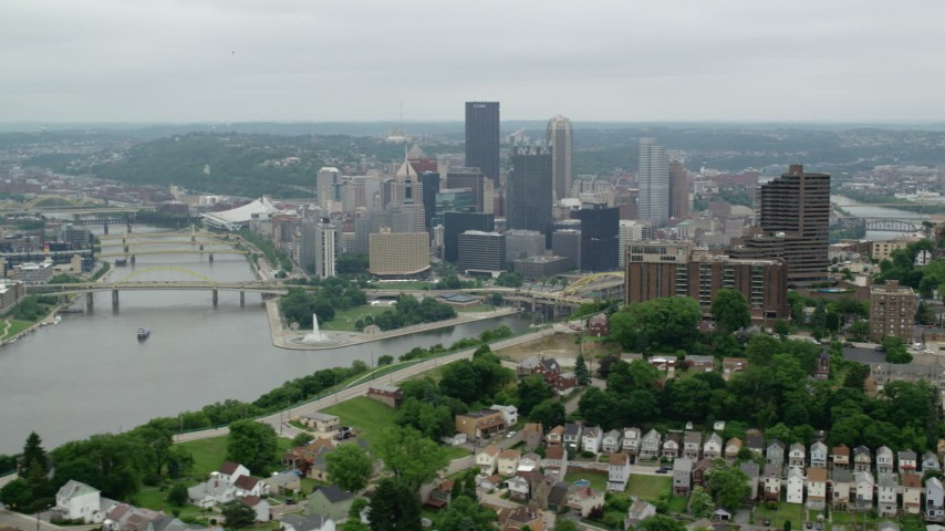 5K stock footage aerial video of Downtown seen from a Hill, Downtown Pittsburgh, Pennsylvania Aerial Stock Footage | AX105_229