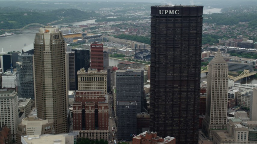 5K stock footage aerial video of skyscrapers and small river ridges, Downtown Pittsburgh, Pennsylvania Aerial Stock Footage | AX105_235