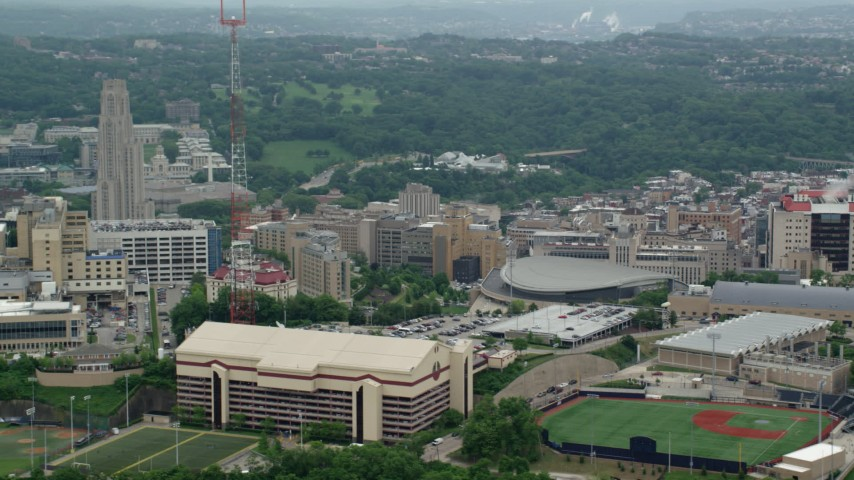5K aerial video orbiting a sports complex and hospital, University of Pittsburgh, Pennsylvania Aerial Stock Footage | AX105_237