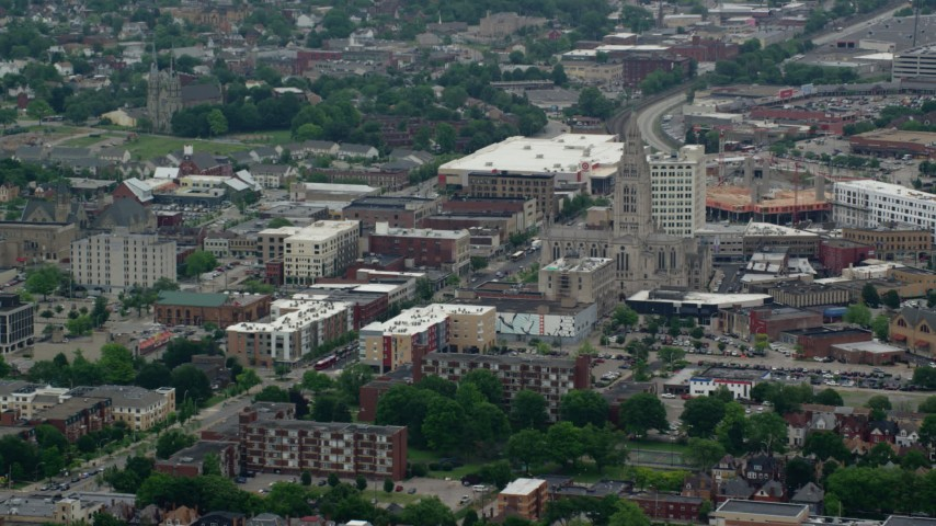 5K stock footage aerial video of Cathedral of Hope, Pittsburgh, Pennsylvania Aerial Stock Footage | AX105_241