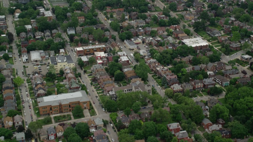 5K stock footage aerial video panning right across suburban neighborhoods, Pittsburgh, Pennsylvania Aerial Stock Footage | AX105_243
