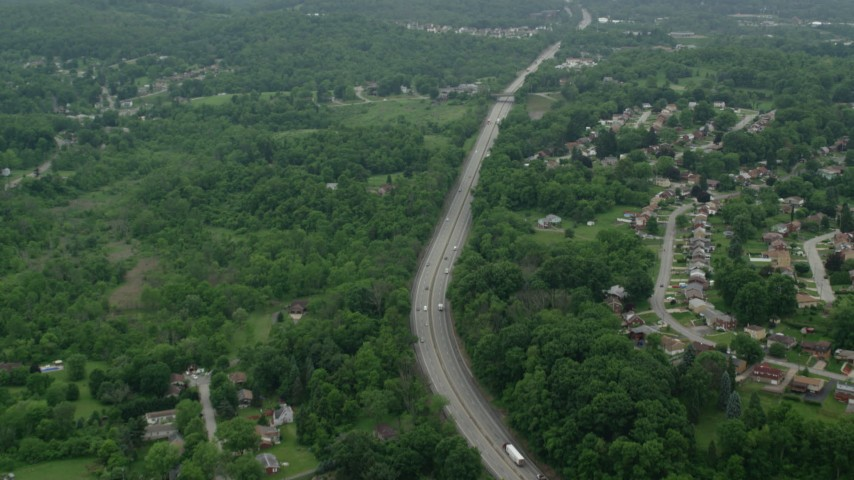5K stock footage aerial video flying over freeway, Pittsburgh, Pennsylvania Aerial Stock Footage | AX105_260