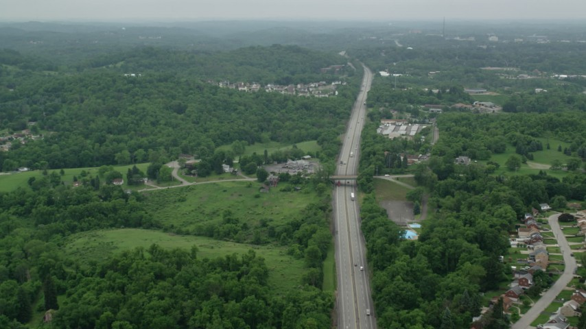 5K stock footage aerial video flying over freeway, Pittsburgh, Pennsylvania Aerial Stock Footage | AX105_261