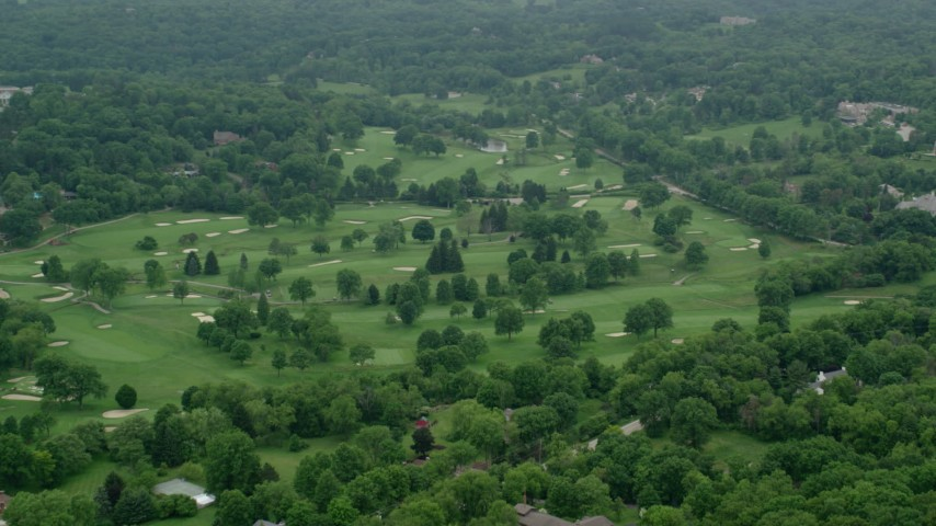 5K stock footage aerial video orbiting a golf course in Pittsburgh, Pennsylvania Aerial Stock Footage | AX106_005