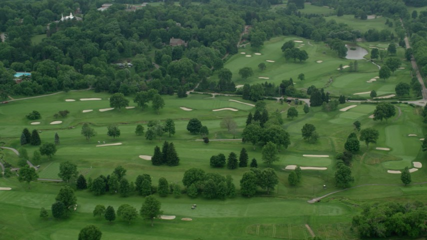 5K stock footage aerial video orbiting a golf course in Pittsburgh, Pennsylvania Aerial Stock Footage | AX106_006