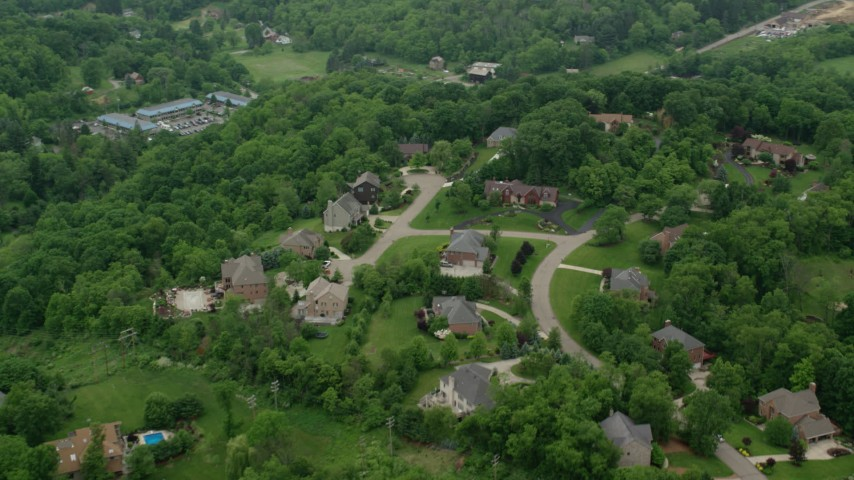 5K stock footage aerial video orbiting upscale neighborhood, Pittsburgh, Pennsylvania Aerial Stock Footage | AX106_009