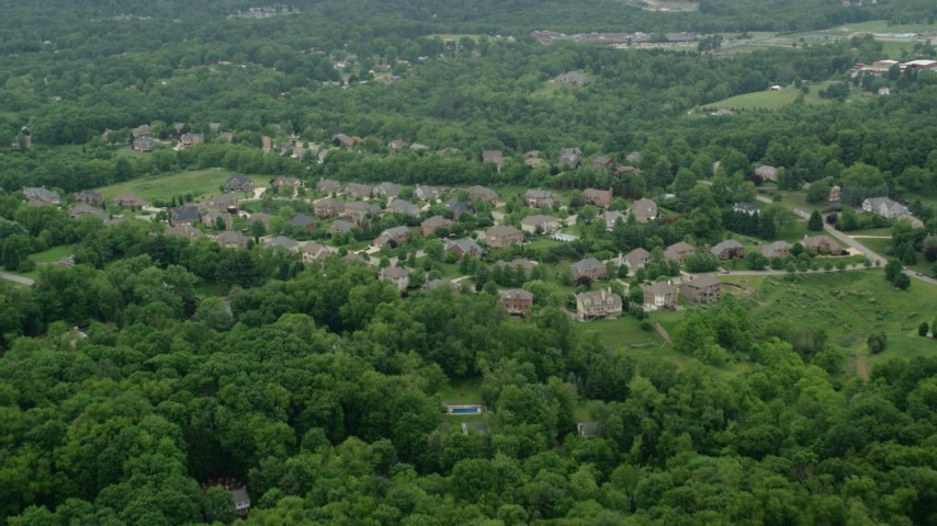 5K stock footage aerial video flying over an upscale neighborhood, Allison Park, Pennsylvania Aerial Stock Footage | AX106_011