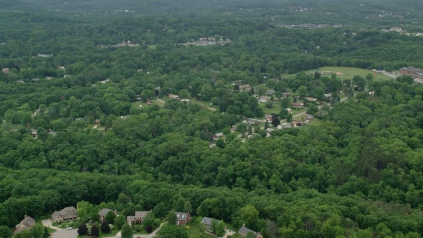 5K stock footage aerial video flying over suburban neighborhood, Allison Park, Pennsylvania Aerial Stock Footage | AX106_012